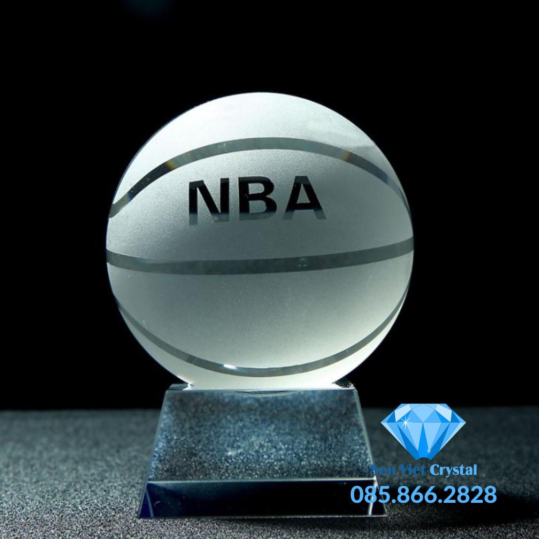 Khối pha lê khắc 2D bóng rổ